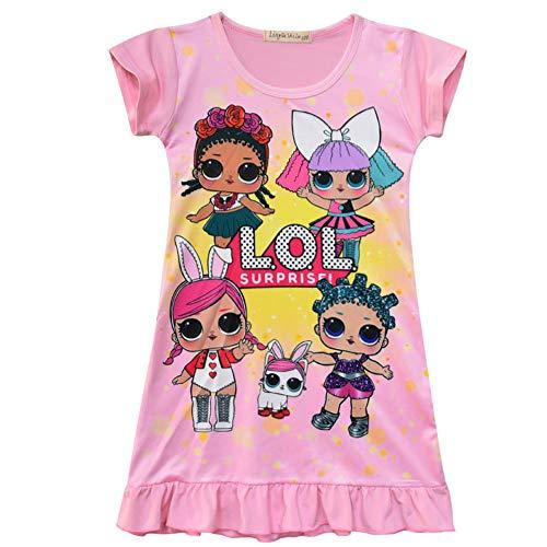 QYS Die Pyjama Party Girls LOL Überraschung Night Dress Nighty Nachthemd Pink Dress Pagent Theme,pink,120cm (Pagent Kleider Für Kinder)