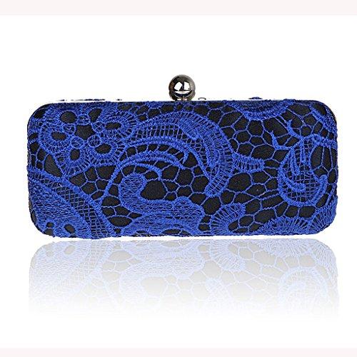Nuovo pochette da sposa in pizzo mini semplice cheongsam borsa borsa borsa da sera del vestito da banchetto ( Colore : Nero ) Blu