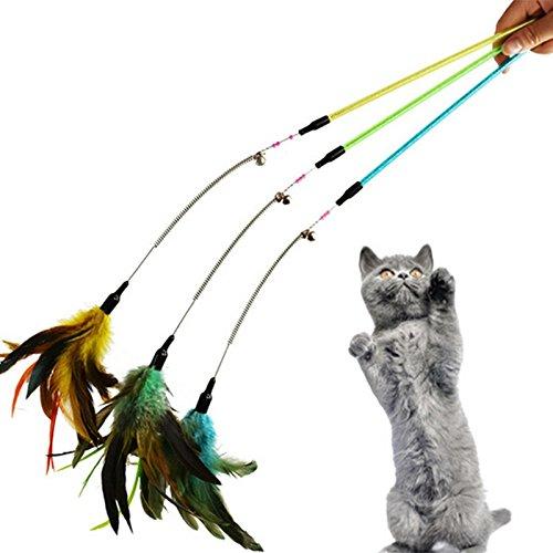 Drehbare Ziele (aubess Pet Katzenspielzeug Feder Zauberstab Spring drehbar Teaser Rod Colorful Bead Interaktives Spielzeug Spring Teaser Rod)
