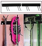 Malayas 2× Skihalter Gerätehalter Wandhalterung Hänger Display Rack Garten Werkzeuge Organizer Lagerung Halterung mit 4 Haken für Besen/ Mop/ Schaufel/ Spaten/ Snowboard/ Surfbrett/ Wakeboard/ Kiteboard/ Longboard/ Skateboard / Wakeskate / Skiboard