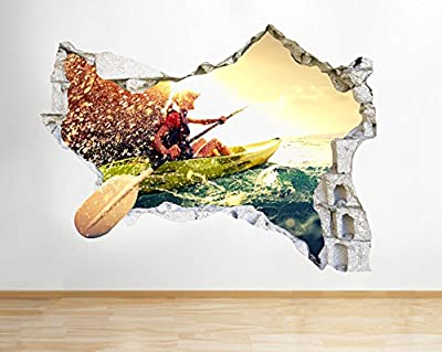 Q473 Kayak Water Sports Bedroom Smashed Wall Decal 3D Art Stickers Vinyl Room from tekkdesigns