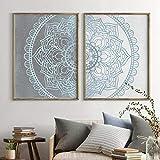 Mandala Arte de la Pared Lienzos Impresiones Gris, Azul Texturizado Vintage Fondo Pintura Cuadros de la Pared...
