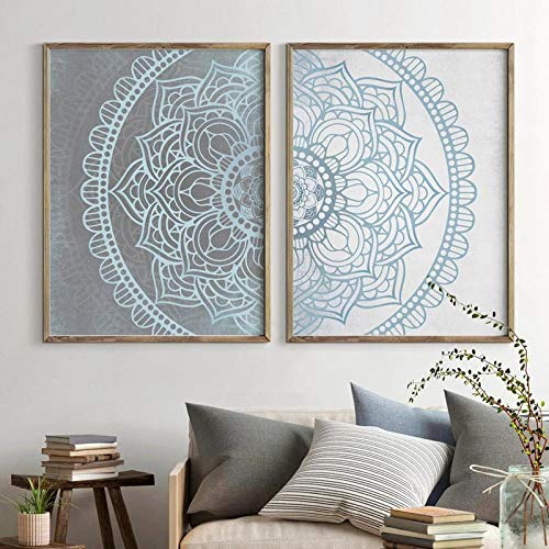 Mandala Arte de la Pared Lienzos Impresiones Gris