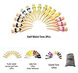 POSMA gts009Multi-Serie Golf-im Set mit 3Stück Bikini Tee + 12Stück Frau nackt Nude Golf Tees + + + 12pcs Damen T-Shirts 12Stück Castle Tees mit Flanell-Tasche/-Beutel
