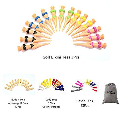 POSMA gts009Multi-Serie Golf-im Set mit 3Stück Bikini Tee + 12Stück Frau nackt Nude Golf Tees + + + 12pcs Damen T-Shirts 12Stück Castle Tees mit Flanell-Tasche/-Beutel -