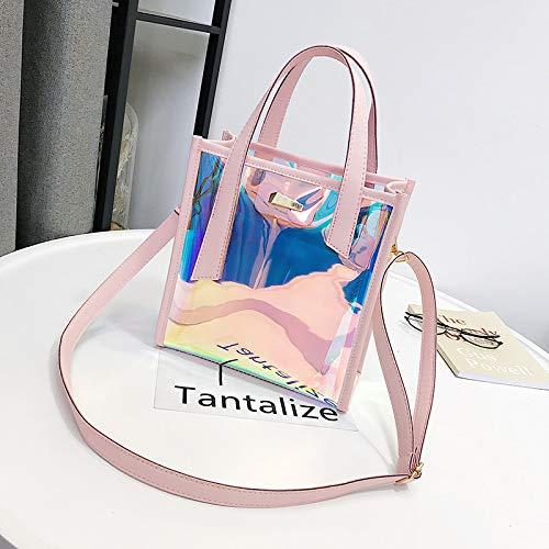 GZHGF Frauen Mode Mini PVC Hologramm Transparente Strand Umhängetasche Hochwertige Weibliche Abend Handtaschen Wasserdichte Tote,Pink (Ipad Mini Tasche Pink Bling)