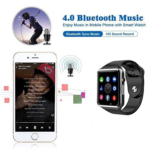 BraceTek   Reloj Inteligente Smartwatch Bluetooth 4.0 con Camara y Capacidad de batería 380mAH  Podómetro  Fitness tracker  Instrucciones en Español