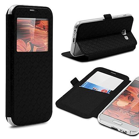 Étui Galaxy A5 (2017), Urcover Sunflower Case Housse [avec fenêtre] Coque Samsung Galaxy A5 (2017) Fermeture Magnétique Noir Smartphone