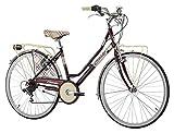 """Cicli Cinzia Bicicletta 26"""" Citybike Kilt Donna 6/V Revo Shift V-Brake Alluminio, Amaranto"""
