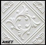 10 M ² Pannelli per Soffitto Pannelli di Polistirolo Pezzo Coperta Decorazione Piatto 50x50cm, Anet