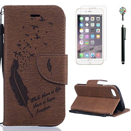 Yaking® Apple iPhone 7, (4 in 1) PU Portefeuille Étui Coque Stand Flip Housse Couvrir impression Case Cover pour Apple iPhone 7 avec 1 X Protecteur d'écran + 1 X Stylet + 1 X Strass Bouchon Anti-Pouss P-4