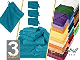 der Klassiker aus dem Hause Dyckhoff - Frottiertücher der Serie Opal - erhältlich in 33 modernen Farben und 7 verschiedenen Größen - hochwertige Walkfrottierware aus Baumwollringgarn mit formstabiler Bordüre, 1 Pack (3 Stück) - Waschhandschuhe [16 x 21 cm], petrol