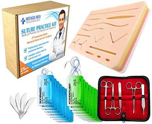 Hochwertiges Trainingskit für das medizinische Training, einschließlich Silikon-Nahtmaterial mit vorgeschnittenen Wunden und einem kompletten Trainingsset (25 Teile) - Drei Tot Teile