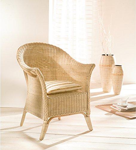 Dekoleidenschaft Rattan-Sessel, Natur lackiert, mit hoher Rückenlehne