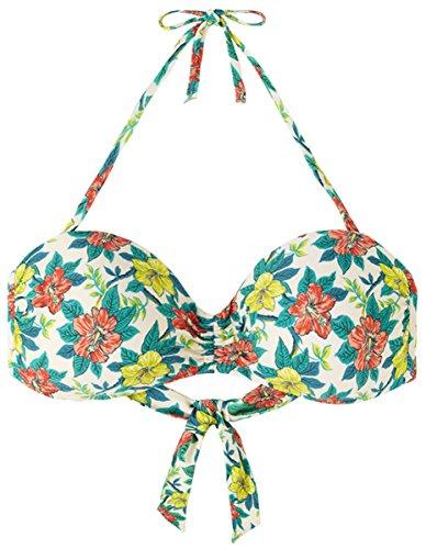 Hibiskus-bikini-top (King Louie Damen Bademode Fenna Lambada Hibiskus Bikini Top Creme XL)