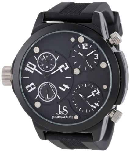 Joshua & Sons Men's Sporty Triple Time Zone Quartz Watch with Date and GMT Subdials, and Sturdy Rubber Strap JS-40-WT
