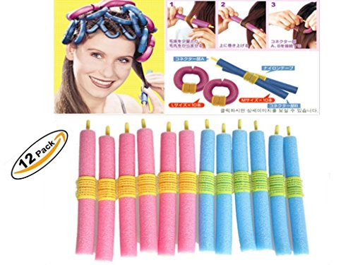 J.Causd 12 Stück Weiche Schwamm Flexible Curling Rods Bendy Haarrollen Schaum Haar Lockenwickler Einfach zu bedienen No Harm zum Haar
