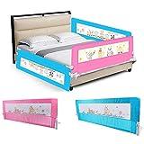 Barriera per letto da bambini,Barriera di sicurezza/protezione removibile per letto bambino,portatile letto protezione pieghevole universale (rosa, 150 * 43 * 34.5 cm)