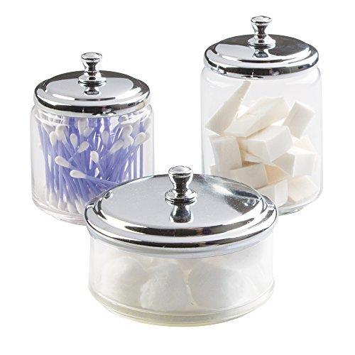 mDesign 3er-Set Glasbehälter für Badezimmer - Aufbewahrung von Wattepads und Wattestäbchen - Behälter aus Glas mit glänzendem Metalldeckel - durchsichtig/silber