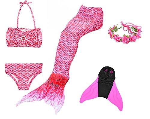 Cosplay Kostüm Badebekleidung Meerjungfrau Shell Badeanzug 3pcs Bikini Sets mit einer Flosse und einer Kränze Tolle Geschenksidee ! (140, Magic Rose) (Billig Kostüme Für Mädchen)