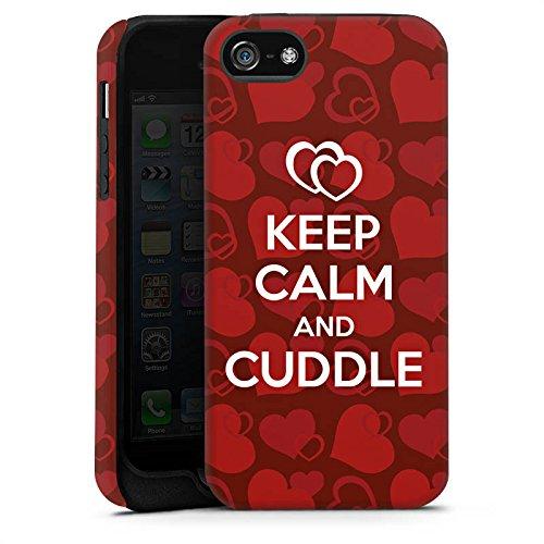 Apple iPhone 4 Housse Étui Silicone Coque Protection Amour câlin Phrases Reste calme Cas Tough terne