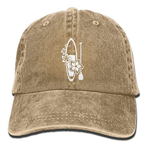 Flowers Paddle Surf Board Unisex Adjustable Cotton Denim Hat Washed Retro Gym Hat Cap Hat Bio Washed Cap