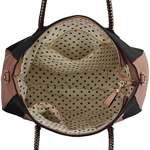 LeahWard® Große Größe Damen Kunstleder Qualität Handtasche Damen Mode Essener Tragetasche Berühmtheit Stil Qualität Taschen CWS00318 CWS00149 Schwarz/nackt