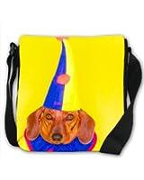 Dachshund Dog In Clown Jester Costume Small Black Canvas Shoulder Bag / Handbag