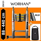 WORHAN® Double Telescopic Ladder 4.4m WITH ALUMINUM RINGS Foldable Extendable Multipurpose Aluminium A Frame Robust