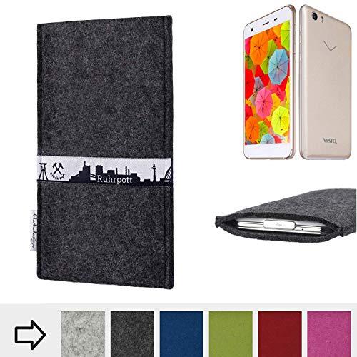 flat.design für Vestel V3 5570 Schutzhülle Handy Tasche Skyline mit Webband Ruhrpott - Maßanfertigung der Schutztasche Handy Hülle aus 100% Wollfilz (anthrazit) für Vestel V3 5570