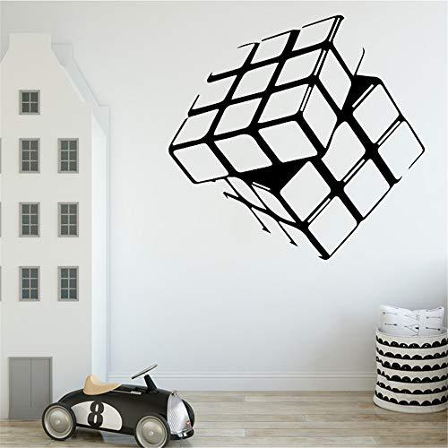 Zauberwürfel Muster Kreatives Design Wandaufkleber für Wohnzimmer Hintergrund Zubehör Vinyl Removable Home Decor Art Tapete schwarz XL 58 cm X 55 cm -