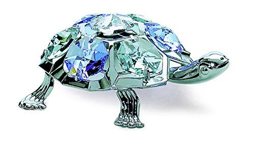 Tartaruga in miniatura–color argento–crystocraft perle di swarovski®–regalo oggetto di decorazione