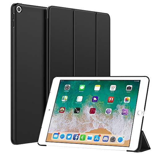 Dadanism Hülle Kompatibel mit iPad 9.7 Zoll 2018/2017, Ultra Leichtgewicht PU Leder Tasche Ständer Smart Trifold Case Schutzhülle mit Auto Schlaf/Wach für iPad 9.7 6th/5th Generation - Schwarz (Leder Verarbeitetes Tri-fold)
