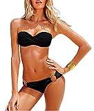 YAANCUN Donne Triangolo Halter Push Up Sportivi Sexy Bikini Costumi Da Bagno Beachwear Due Pezzi M