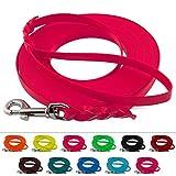 LENNIE Leichte BioThane Schleppleine, 9mm, Hunde 5-15kg, 2m lang, mit Handschlaufe, Neon-Pink, geflochten