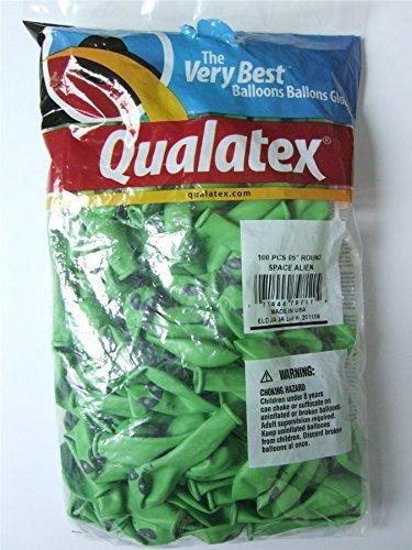 "Green Alien Face Qualatex Latex 5"" Balloons x 100 by Qualatex"