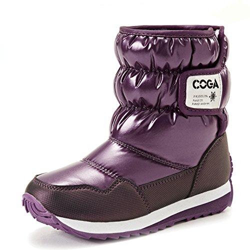 Fortuning's JDS Enfants Unisexe Chaude Bottes de neige d'hiver Bottes de coton Violet