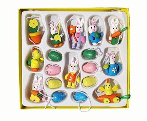 18 Mini, motivo: pulcino, colore: uova pasquali in legno, decorazioni da appendere