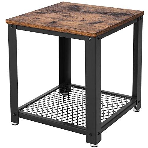 VASAGLE Beistelltisch im Industrie-Design, Nachttisch, Sofatisch mit Gitterablage, stabil, mit Metallgestell, Wohnzimmer, Schlafzimmer, einfach zu montieren, Used Look, Holzoptik Vintage LET41X