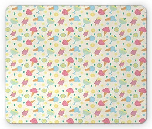 Ice Cream Mouse Pad, Sorbet Cone with Lemon and Strawberry Mint Flavor Frozen Dessert Childish Cartoon, Standard Size Rectangle Non-Slip Rubber Mousepad, Multicolor Mint Sorbet