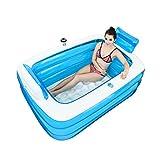 QINGTAOSHOP Aufblasbares Schwimmbecken PVC rechteckiges Hauptplanschbecken Transparentes Blau 59.1 * 41.3 * 19.7 Zoll (Color : Blue, Size : 150 * 105 * 50CM)