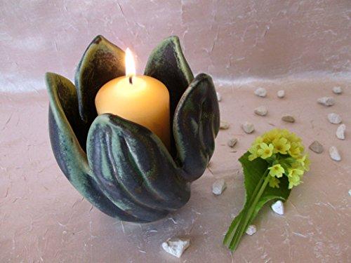 Keramik-Schale für Kerzen, Kerzen-Schale, Schüssel Deko, Konfektschale, Kerzenständer, Kerzenhalter, Kerzenleuchter, Teelichthalter, Dekoschale aus Ton, Tischdeko, Wohndeko, ca. 13x12 cm, Handarbeit
