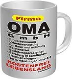 Witzige Geschenk-Tasse: Oma GmbH Kaffeebecher im Geschenkkarton