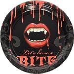 61-teiliges Partyset * Fangtastic * Vampirgebiss | für Geburtstag und Motto-Party | mit Teller + Becher + Servietten…
