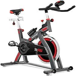 Fitfiu BESP-300 Bicicleta Spinning BESP-24 Profesional Volante inercia 24kg Pantalla LCD, Unisex Adulto, Negro, Medium