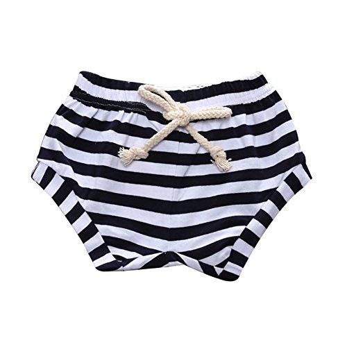 Mädchen Baby Jungen Klassic Gestreift Hosen-LOSORN ZPY Sommer Shorts Mit Elastisch Bund Unisex Babyhose Baumwolle Pumphose (90, Schwarz) (Elastische Taille Nadelstreifen-shorts)