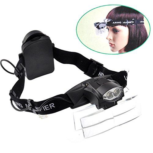 Brillenlupe Lupenbrille mit Led Licht Kopfband Kopflupe Stirnlupe Beleuchtung Hände Frei,5 Wechselobjektive (1,0X zu 6X)