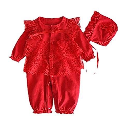 Yogogo Neugeborenes Kappen Hut + Spitze Spielanzug Overall Kleidung eingestelltes Outfit (Size:2-4M, (Cotton Schlaf Kleidung)