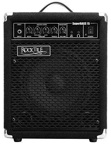Rocktile SB-15 SuperBass15 Bassamp Verstärker 15 Watt (Bassverstärker Combo, 20,3 cm (8 Zoll) Speaker, 15 Watt RMS, 3 Band EQ, Anschluss Kopfhörer, Effektschleife)