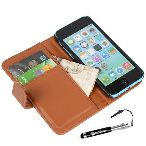 MADCASE Apple iPhone 5C Premium Leder/Harthülle/Gel/Silikon/Strapazierfähig/Durchsichtig/Klar/Portemonnaie/Kreditkartenhalter Flip Case Bumper Ständer Hülle mit Display Schutz und Eingabestift - Weich Smooth PU Leather - Brown